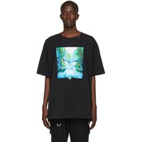 Off White Black And Multicolor Waterfall T Shirt