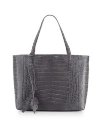 Nancy Gonzalez Erica New Crocodile Leaf Tote Bag Grey