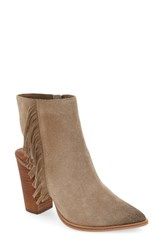 Linea Paolo Women's 'Elise' Open Back Fringe Bootie Taupe Suede