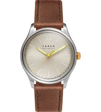 Farer Johnson Three Hand Sterling Silver And Leather Watch Champagne