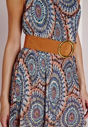 Missguided Wide Tan Buckle Belt Tan Brown