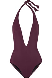 Solid And Striped The Willow Halterneck Swimsuit Burgundy