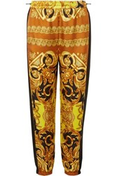 Versace Printed Silk Twill Tapered Track Pants Yellow