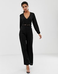 Ax Paris Long Sleeve Jumpsuit With Belt Detail Black