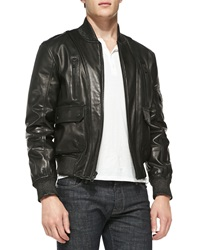 Andrew Marc New York Contrast Textured Leather Jacket Black