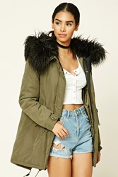 Forever 21 Faux Fur Hooded Parka Olive