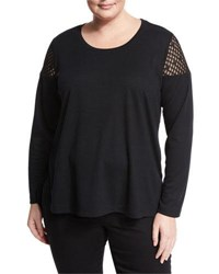 Love Scarlett Plus Mesh Inset Knit Top Black