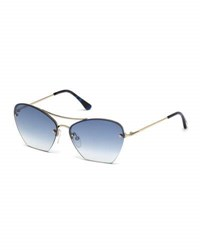 Tom Ford Annabel Cutoff Aviator Cat Eye Sunglasses Rose Blue Rose Gold Blue