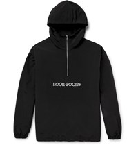 Noon Goons Oversized Embroidered Faille Hooded Windbreaker Black