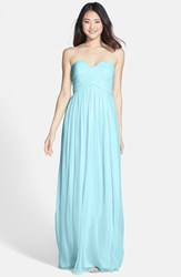 Women's Donna Morgan 'Laura' Ruched Sweetheart Silk Chiffon Gown Gulfstream