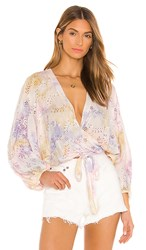 Young Fabulous And Broke Lacey Wrap Top In Yellow Purple Pink. Violet Burst Wash