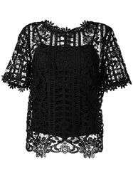 Blugirl Floral Lattice Lace Top Black