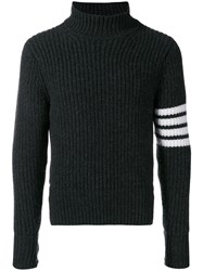 Thom Browne Cardigan Stitch Cashmere Turtleneck Grey