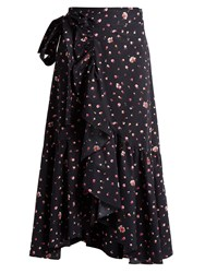 Rebecca Taylor Mia Floral Print Cotton Wrap Skirt Navy Print
