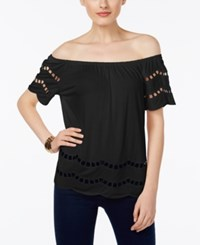 Inc International Concepts Off The Shoulder Peasant Top Only At Macy's Deep Black