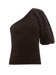 Joostricot Beaded One Sleeve Mohair Blend Sweater Black