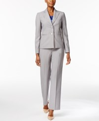 Le Suit Pinstripe Three Piece Pantsuit Slate Blue