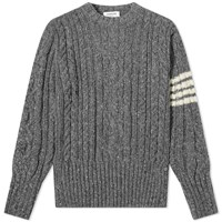 Thom Browne Aran Cable 4 Bar Donegal Crew Knit Grey