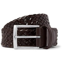 Andersons 3.5Cm Dark Brown Woven Leather Belt