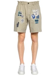 Dsquared Cotton Twill Chino Shorts W Patches Stone