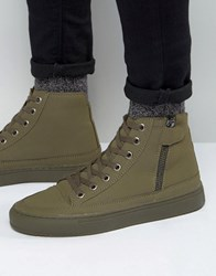 Asos High Top Trainers In Khaki With Zip Khaki Green