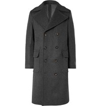 Private White V.C. Woolmark Double Breasted Wool And Cashmere Blend Coat Gray