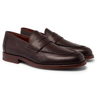 Loro Piana City Life Full Grain Leather Loafers Brown