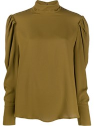 Tela Funnel Neck Ruffle Top Green