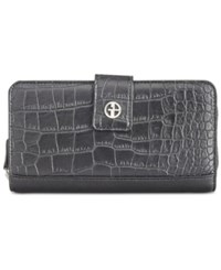 Giani Bernini Croc Embossed Saffiano Zip Around Wallet Created For Macy's Black Croc