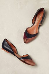Chocolate Schubar Venice Metallic Flats Navy