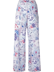 Etro Floral Wide Leg Trousers Blue