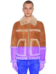 Dsquared Zipped Suede Jacket W Shearling Details Beige