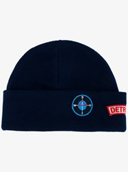 Raf Simons Badge Wool Beanie Hat Blue Navy Blue