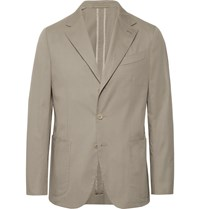 Caruso White Butterfly Unstructured Stretch Cotton Suit Jacket Gray