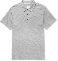 Rag And Bone Knitted Cotton Blend Polo Shirt Gray