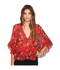 Free People Bright Lights Embroidered Top Red Women's Clothing