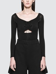 Alexander Wang Stretch Jersey Sleeved Bodysuit With Cut Out And Ties