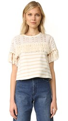 See By Chloe Striped Fringe Tee Cream