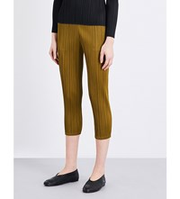 Issey Miyake Slim Cropped Pleated Trousers Khaki