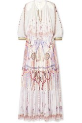Camilla Tiered Embellished Printed Silk Georgette Maxi Dress White