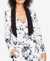 Rachel Roy Floral Print Sailor Blazer Created For Macy's Ivory Black Combo