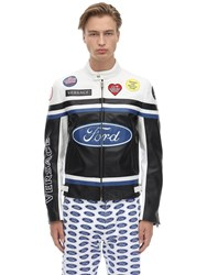 Versace Ford Logo Leather Motocross Jacket Black