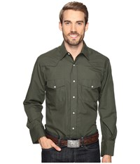 Roper 0772 Solid Broadcloth Olive Fancy Green Men's Clothing