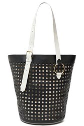 Diane Von Furstenberg Woman Origami Perforated Leather Tote Black