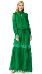 Roberto Cavalli Long Sleeve Maxi Dress Emerald