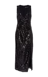 Sally Lapointe Vertical Sequin Embroidered High Slit Dress Black