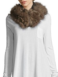 Elie Tahari Solid Fur Scarf Horizon Grey