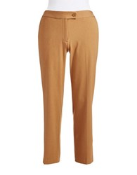 Jones New York Plus Straight Legged Dress Pants Camel Heather