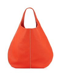 Neiman Marcus Perforated Zip Trim Hobo Bag Poppy