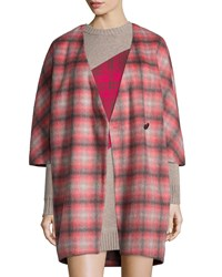 Thakoon Plaid Button Front Asymmetric Coat Pink